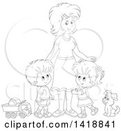 Cartoon Black And White Lineart Mother With Her Son And Daughter A Dog And Toys