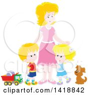 Cartoon White Mother With Her Son And Daughter A Dog And Toys