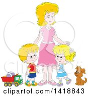 Clipart Of A Cartoon Caucasian Mother With Her Son And Daughter A Dog And Toys Royalty Free Vector Illustration