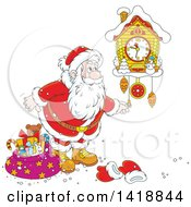 Clipart Of A Cartoon Christmas Santa Claus Looking At A Cuckoo Clock Royalty Free Vector Illustration by Alex Bannykh