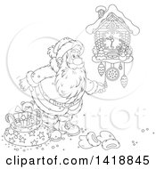 Clipart Of A Cartoon Black And White Lineart Christmas Santa Claus Looking At A Cuckoo Clock Royalty Free Vector Illustration by Alex Bannykh