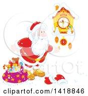 Clipart Of A Cartoon Christmas Santa Looking At A Cuckoo Clock Royalty Free Vector Illustration