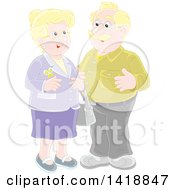 Clipart Of A Cartoon Blond Caucasian Couple Smiling Royalty Free Vector Illustration by Alex Bannykh