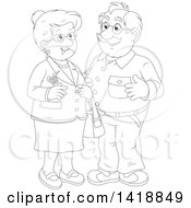 Clipart Of A Black And White Lineart Happy Senior Couple Smiling Royalty Free Vector Illustration by Alex Bannykh