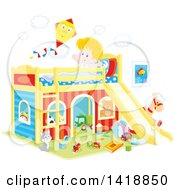 Cartoon Happy White Boy Stretching And Talking To A Kite On His Playhouse Bed