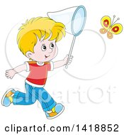 Clipart Of A Cartoon Happy Caucasian Boy Chasing A Butterfly With A Net Royalty Free Vector Illustration by Alex Bannykh