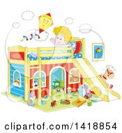 Cartoon Happy Caucasian Boy Stretching And Talking To A Kite On His Playhouse Bed