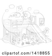 Clipart Of A Cartoon Black And White Lineart Happy Boy Stretching And Talking To A Kite On His Playhouse Bed Royalty Free Vector Illustration