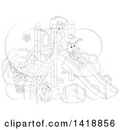 Clipart Of A Cartoon Black And White Lineart Dog Watching Children Play On A Slide On A Playground Royalty Free Vector Illustration