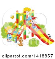 Clipart Of A Cartoon Dog Watching Children Play On A Slide On A Playground Royalty Free Vector Illustration