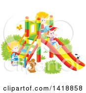 Clipart Of A Cartoon Dog Watching Kids Play On A Slide On A Playground Royalty Free Vector Illustration