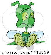 Cartoon Green Bee Or Bug Sitting On The Ground