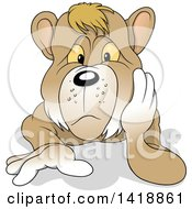 Cartoon Bear Resting His Head In His Hand And Laying On The Ground