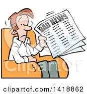 Clipart Of A Cartoon Sad Brunette Caucasian Man Reading Bad News In The Paper Royalty Free Vector Illustration by Johnny Sajem