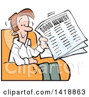 Clipart Of A Cartoon Happy Brunette Caucasian Man Reading Good News In The Paper Royalty Free Vector Illustration by Johnny Sajem