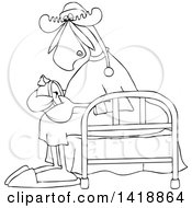 Clipart Of A Cartoon Black And White Lineart Sleepy Moose Setting His Alarm Clock And Sitting On A Bed Royalty Free Vector Illustration