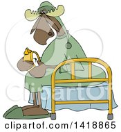 Cartoon Sleepy Moose Setting His Alarm Clock And Sitting On A Bed