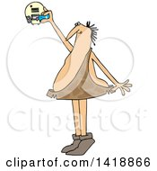 Cartoon Caveman Standing On His Tip Toes And Putting A Battery In A Smoke Detector
