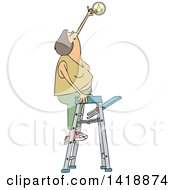 Clipart Of A Cartoon Caucasian Woman Standing On A Ladder And Changing A Battery In A Smoke Detector Royalty Free Vector Illustration