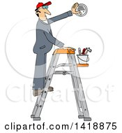 Cartoon Caucasian Maintenance Worker Man On A Ladder Installing A Smoke Detector