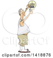 Clipart Of A Cartoon Chubby Caucasian Man Putting A New Battery In A Smoke Detector Royalty Free Vector Illustration