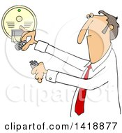Clipart Of A Cartoon Caucasian Business Man Installing A New Battery In A Smoke Detector Royalty Free Vector Illustration