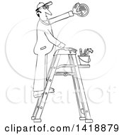 Clipart Of A Cartoon Black And White Lineart Maintenance Worker Man On A Ladder Installing A Smoke Detector Royalty Free Vector Illustration by djart