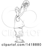 Clipart Of A Cartoon Black And White Lineart Chubby Man Putting A New Battery In A Smoke Detector Royalty Free Vector Illustration