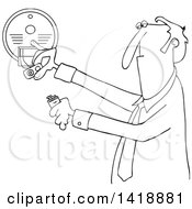 Cartoon Black And White Lineart Business Man Installing A New Battery In A Smoke Detector