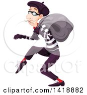 Clipart Of A Sneaky French Male Burglar Royalty Free Vector Illustration by Pushkin