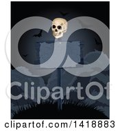 Human Skull On A Dark Blank Sign Post On A Hill With Vampire Bats