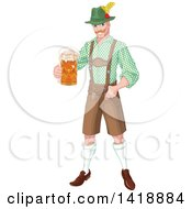 Clipart Of A Handsome Oktoberfest German Man Holding Out A Beer Mug Royalty Free Vector Illustration