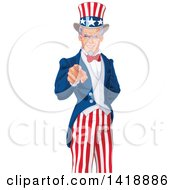 Clipart Of A Patriotic Man Uncle Sam Pointing Outwards Royalty Free Vector Illustration by Pushkin