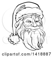 Black And White Lineart Portrait Of A Santa Claus Face