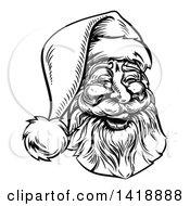 Black And White Lineart Portrait Of A Jolly Santa Claus Face