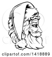 Black And White Lineart Profile Portrait Of A Jolly Santa Claus Face