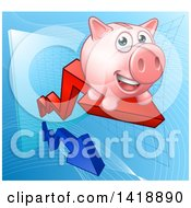 Clipart Of A Happy Pink Piggy Bank Riding A Growth Stock Market Arrow Royalty Free Vector Illustration