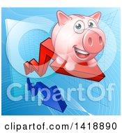 Poster, Art Print Of Happy Pink Piggy Bank Riding A Growth Stock Market Arrow