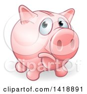Clipart Of A Cartoon Sad Pouting Piggy Bank Royalty Free Vector Illustration