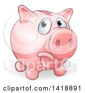 Cartoon Sad Pouting Piggy Bank