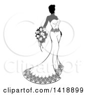 Clipart Of A Silhouetted Black And White Bride In Her Gown Royalty Free Vector Illustration