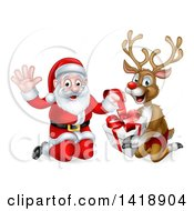 Clipart Of A Happy Christmas Santa Claus And Reindeer Opening A Gift Royalty Free Vector Illustration