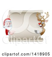 Clipart Of A Christmas Reindeer And Santa Claus Pointing Around A Blank Scroll Sign Royalty Free Vector Illustration