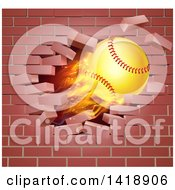 Clipart Of A 3d Flying And Blazing Softball With A Trail Of Flames Breaking Through A Brick Wall Royalty Free Vector Illustration