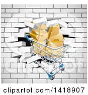 Clipart Of A Shopping Cart And SALE Crashing Through A 3d White Brick Wall Royalty Free Vector Illustration