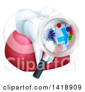 3d Magnifying Glass Discovering Germs Or Bacteria On A Tooth And Gums