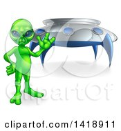 Clipart Of A Green Alien Waving Or Presenting By A UFO Royalty Free Vector Illustration