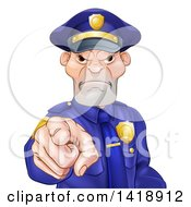 Clipart Of A Tough And Angry White Male Police Officer Pointing Outwards Royalty Free Vector Illustration