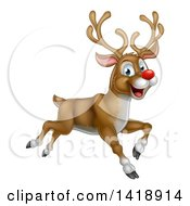 Clipart Of A Happy Rudolph Red Nosed Reindeer Leaping Or Flying Royalty Free Vector Illustration by AtStockIllustration