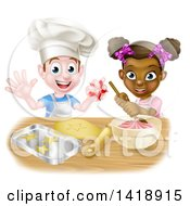 Clipart Of A Happy White Boy Making Making Star Cookies And Black Girl Making Frosting Royalty Free Vector Illustration by AtStockIllustration